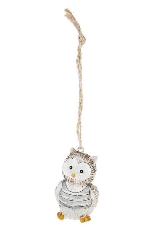 Украшение декоративное Озорной совенокЕлочные игрушки<br>Выс=5.5см, полирезин, серо-белое, подвесное<br>