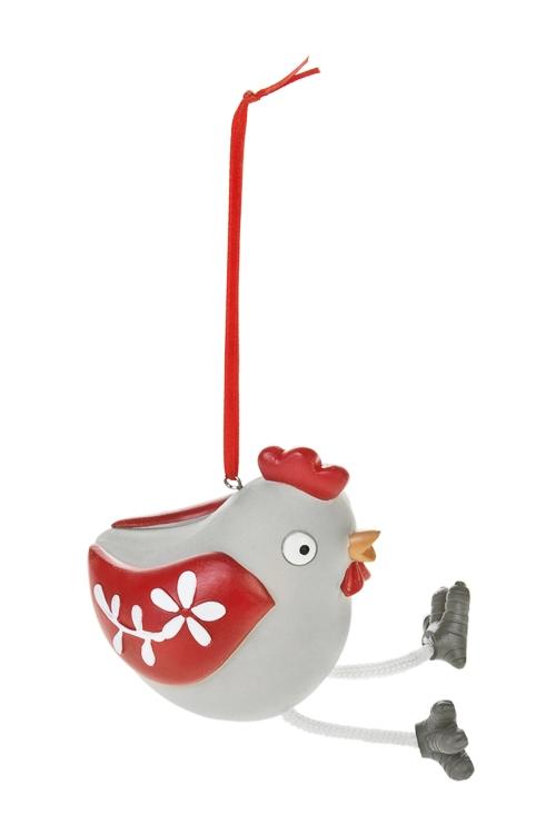 Украшение декоративное Петушок - красный гребешокЕлочные игрушки<br>9*9*7см, полирезин, серо-красно-белое, подвес.<br>