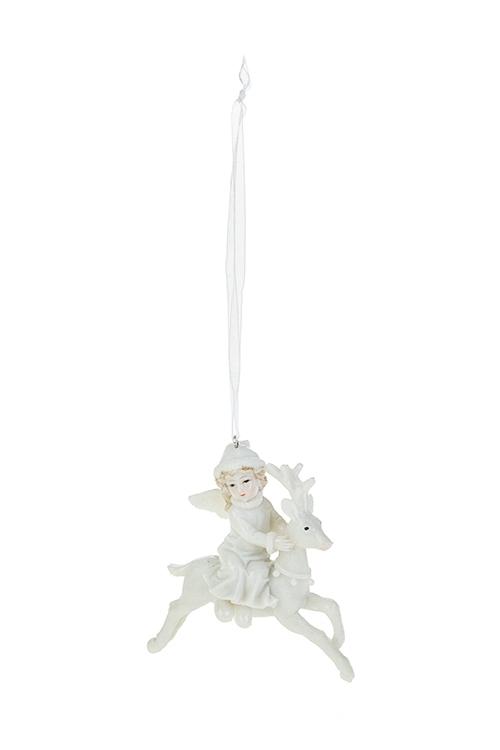 Украшение декоративное Парящий олень с ангеломСувениры и упаковка<br>9*9см, полирезин, крем., подвесное<br>