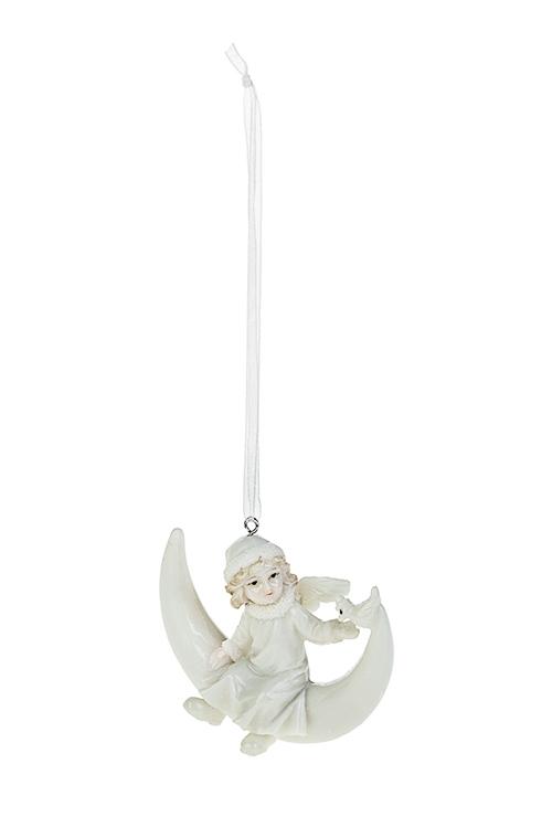 Украшение декоративное Ангелок на месяцеДекоративные гирлянды и подвески<br>8*7см, полирезин, крем., подвесное<br>