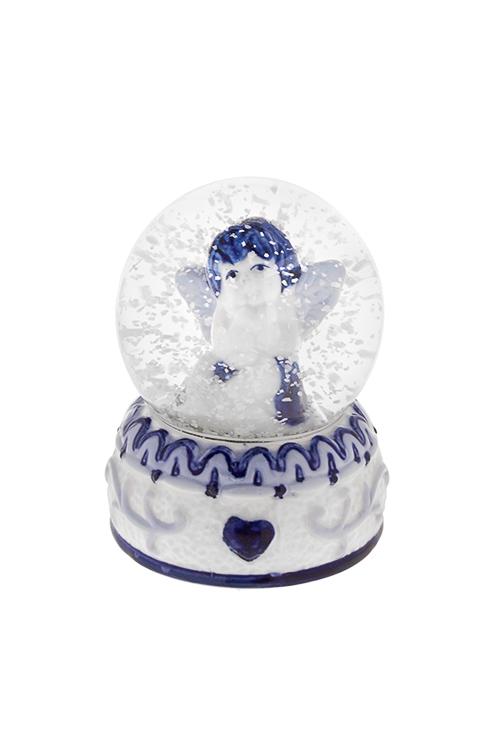 Шар со снегом Мечтающий ангелНовогодние сувениры<br>Выс=9см, керам., стекло, бело-синее, с жидк.<br>