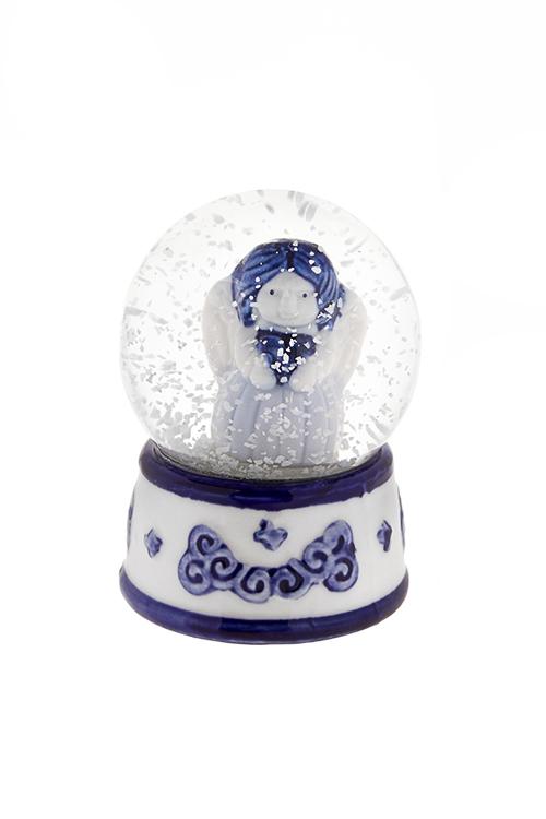 Шар со снегом Девочка-ангелНовогодние сувениры<br>Выс=9см, керам., стекло, бело-синее, с жидк.<br>