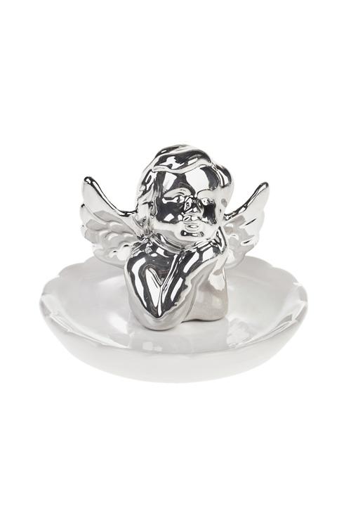 Держатель для украшений АнгелокШкатулки и наборы по уходу<br>10*10*8см, керам., бело-серебр.<br>