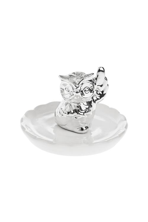 Держатель для украшений СовушкаДержатели для украшений<br>10*10*6см, керам., бело-серебр.<br>