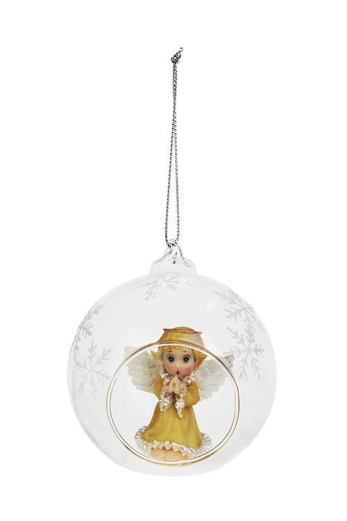 Украшение для интерьера Прекрасный ангелочекЕлочные шары<br>Д=8см, стекло, полирезин, прозр., подвесное<br>