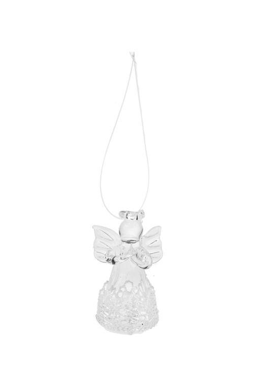 Украшение декоративное Кружевной ангелПодарки<br>Выс=4.5см, стекло, прозр.-белое, подвесное, ручная работа<br>