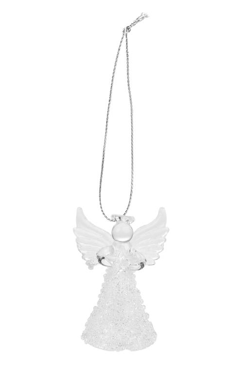 Украшение декоративное Ангелок со звездочкойПодарки<br>Выс=6см, стекло, прозр.-белое, подвесное, ручная раб.<br>