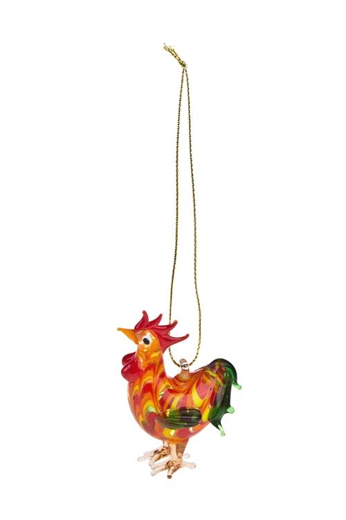 Украшение декоративное Яркий петушокЕлочные игрушки<br>Выс=5.5см, разноцв., стекло, ручная работа (2 вида)<br>