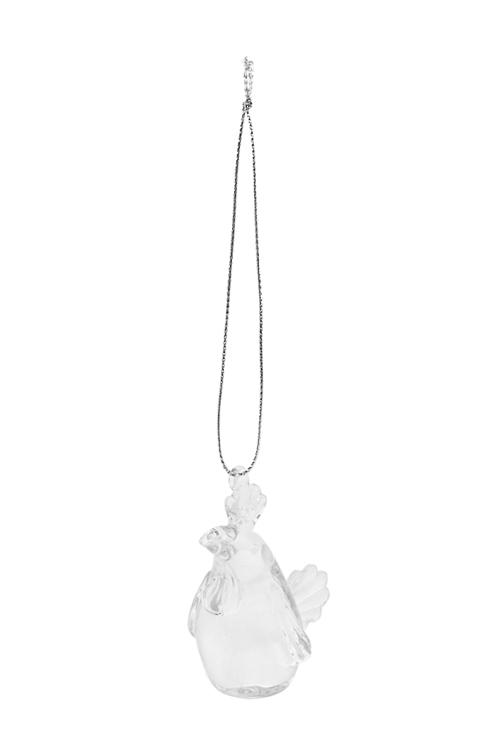 Украшение декоративное Петушок-счастливый гребешокСимволы года 2017<br>Выс=6.5см, прозр., стекло, ручная работа<br>