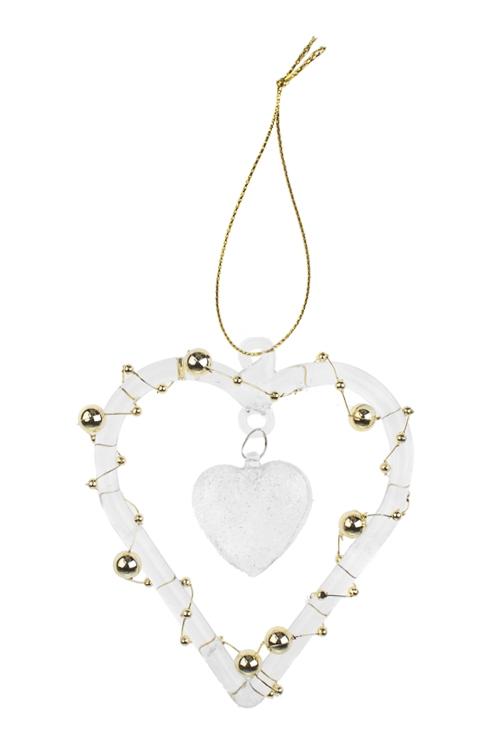 Украшение декоративное Ледяное сердцеПодарки<br>11*9см, стекло, прозр.-бело-золот., подвесное, ручная работа<br>