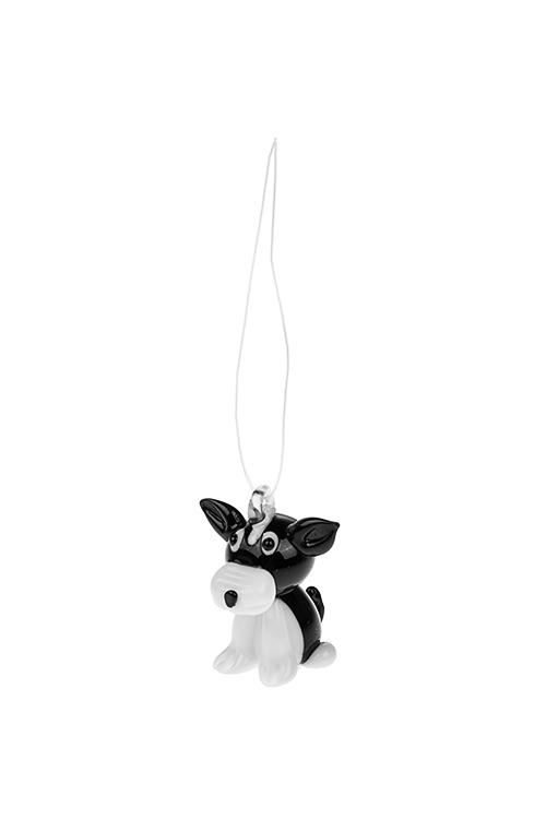 Украшение декоративное Верный другЕлочные игрушки<br>Выс=4см, стекло, бело-черное, подвесное, ручная работа<br>