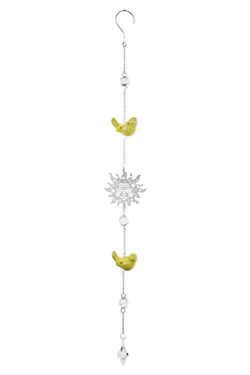 Украшение декор. Солнышко и птичкиПодарки на день рождения<br>Выс=80см, металл, стекло, керам., серебр.-желтое, подвесное<br>