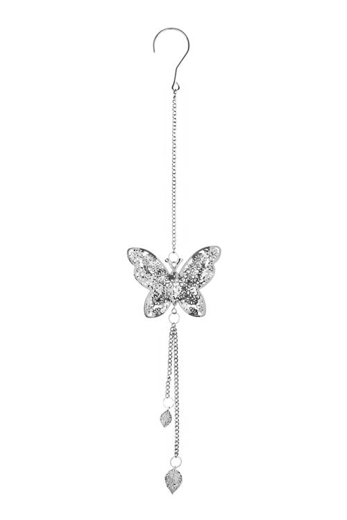 Украшение декоративное Ажурная бабочкаДекоративные гирлянды и подвески<br>Выс=55см, металл, серебр., подвесное<br>