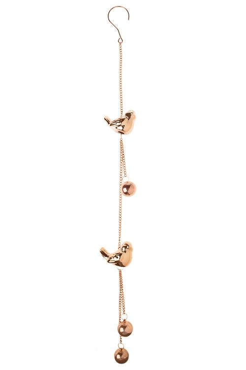 Украшение декоративное Золотые птичкиДекоративные гирлянды и подвески<br>Выс=73см, металл, керам., роз. золот., подвесное<br>