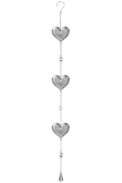 Украшение декоративное Резные сердцаСувениры и упаковка<br>Выс=100см, металл, стекло, серебр., подвесное<br>