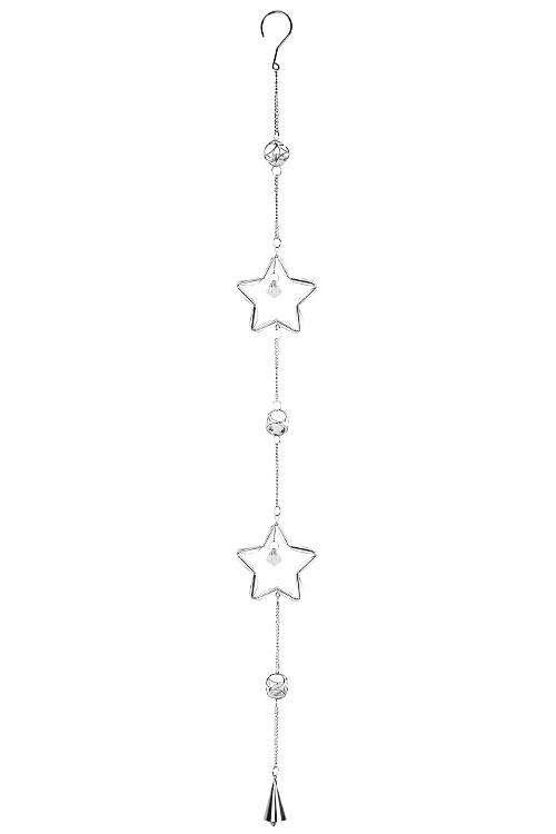 Украшение декоративное ЗвездыСувениры и упаковка<br>Выс=104см, металл, стекло, серебр., подвесное<br>