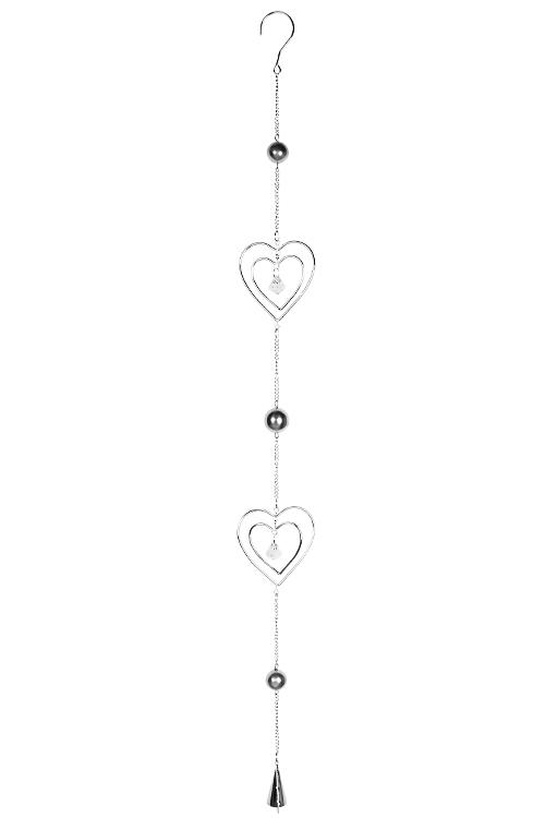 Украшение декоративное Биение сердецДекоративные гирлянды и подвески<br>Выс=100см, металл, акрил, серебр., подвесное<br>
