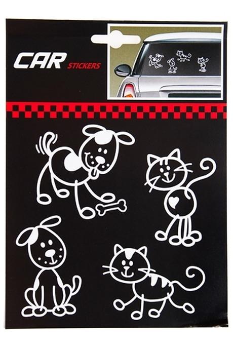 Набор аппликаций Кошки и собакиАвтомобильные знаки и подушки<br>15*15см, ПВХ, бело-черный<br>