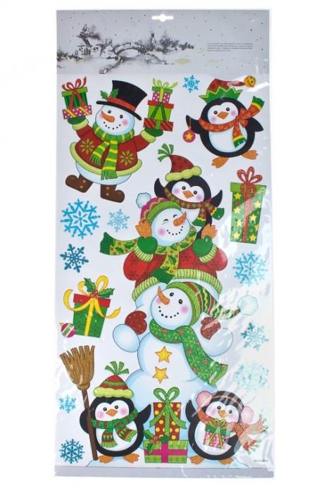 Набор наклеек новогодних Снеговики и пингвиныНаклейки и аппликации<br>70*32см, ПВХ<br>