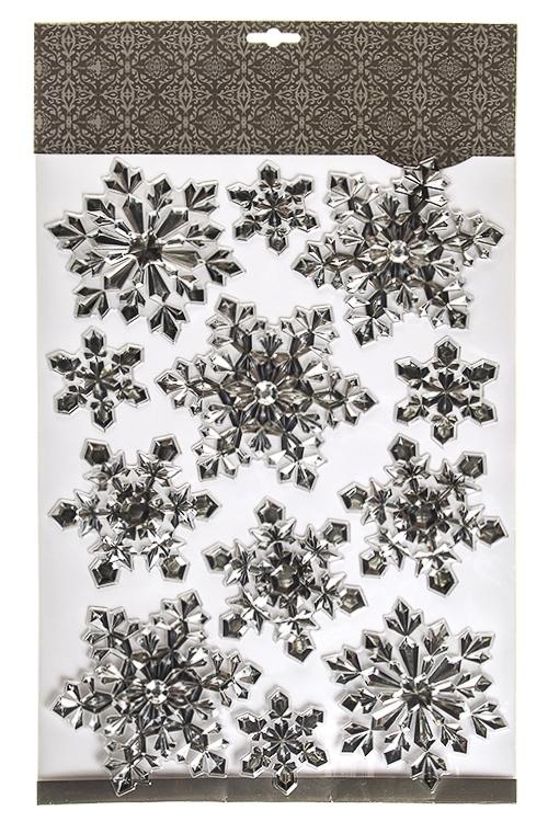 Набор наклеек новогодних СнежинкиНаклейки и аппликации<br>50*30см, ПВХ, серебр.<br>
