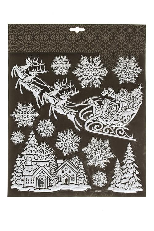 Набор наклеек новогодних Веселый праздникНаклейки и аппликации<br>39*31см, ПВХ, бело-серебр.<br>