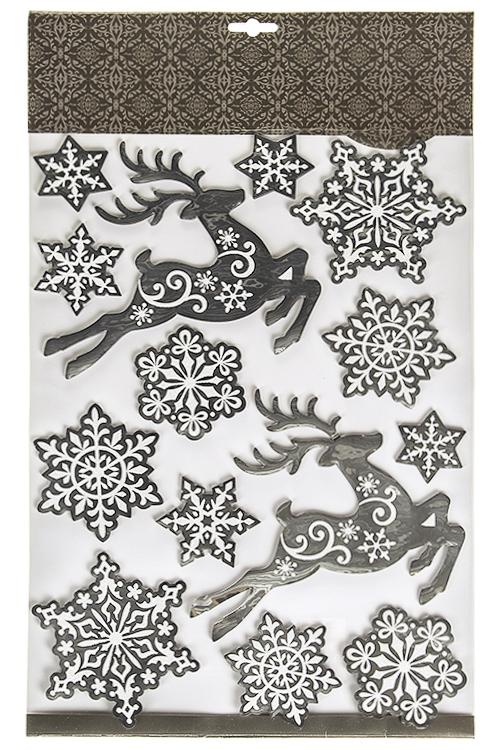 Набор наклеек новогодних Олени и снежинкиНаклейки и аппликации<br>50*30см, ПВХ, бело-серебр.<br>