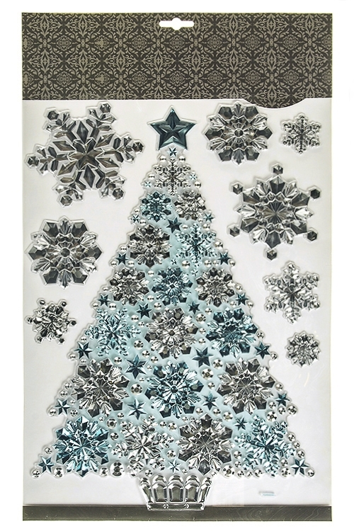 Набор наклеек новогодних Прекрасная елочкаНаклейки и аппликации<br>50*30см, ПВХ, серебр.-голубой<br>