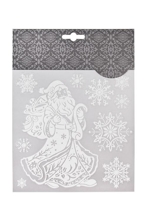 Набор наклеек новогодних Дедушка Мороз с подарками и снежинкиНаклейки и аппликации<br>18*18см, ПВХ, белый<br>