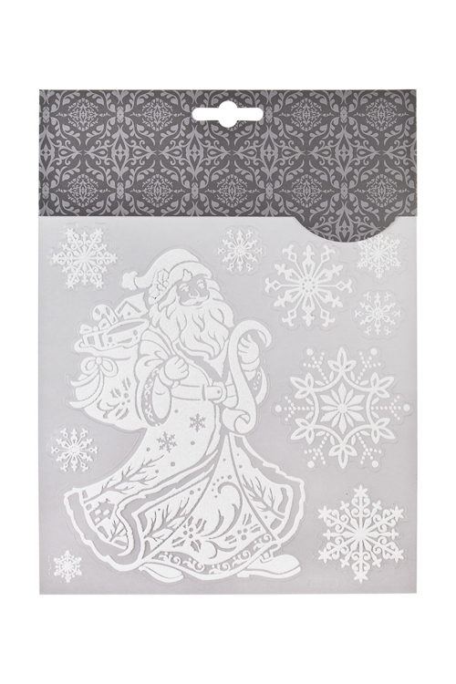 Набор наклеек Дедушка Мороз с подарками и снежинкиИнтерьер<br>18*18см, ПВХ, белый<br>