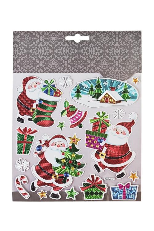 Набор наклеек новогодних Деды Морозы с подаркамиНаклейки и аппликации<br>18*18см, ПВХ, разноцв.<br>