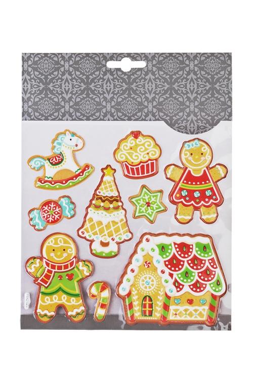Набор наклеек новогодних Имбирное печеньеНаклейки и аппликации<br>18*18см, ПВХ, разноцв.<br>