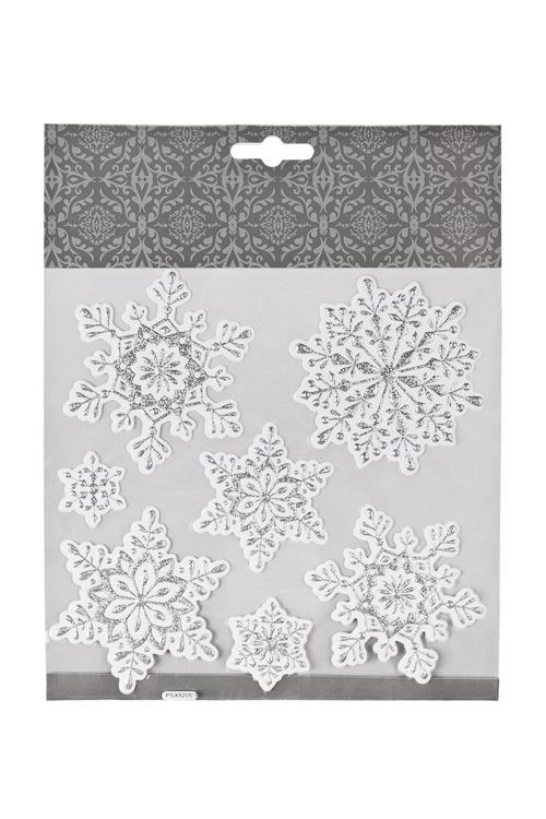 Набор наклеек новогодних Прекрасные снежинкиНаклейки и аппликации<br>18*18см, ПВХ, бело-серебр.<br>