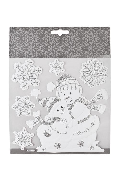 Набор наклеек новогодних Веселые снеговикиНаклейки и аппликации<br>18*18см, ПВХ, бело-серебр.<br>