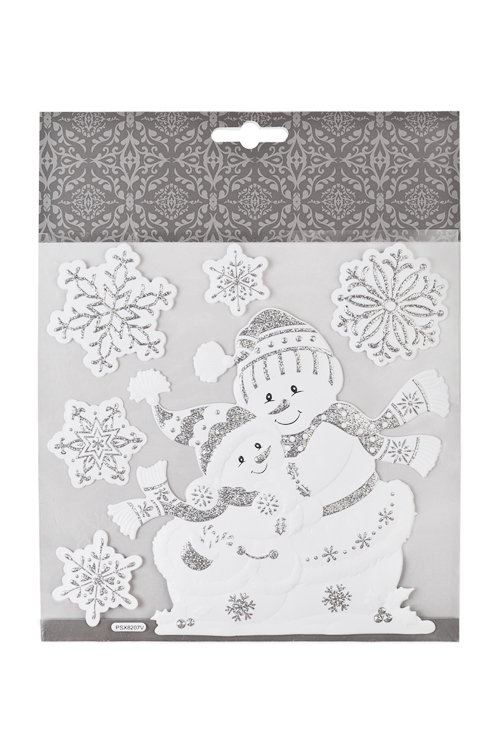 Набор наклеек Веселые снеговикиИнтерьер<br>18*18см, ПВХ, бело-серебр.<br>