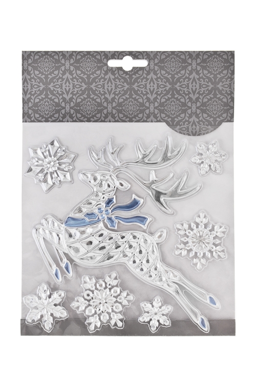 Набор наклеек новогодних Парящий олень и снежинкиНаклейки и аппликации<br>18*18см, ПВХ, серебр.-голуб.<br>