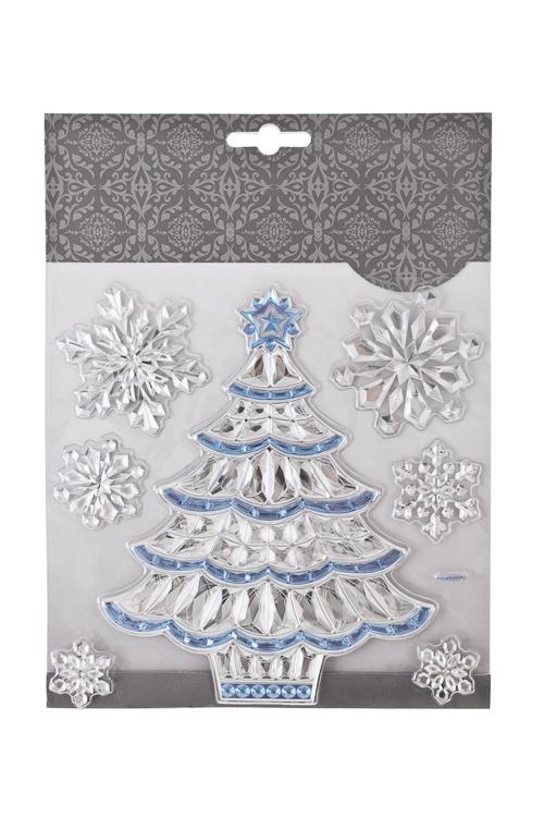 Набор наклеек новогодних Праздничная елочка и снежинкиНаклейки и аппликации<br>18*18см, ПВХ, серебр.-голуб.<br>