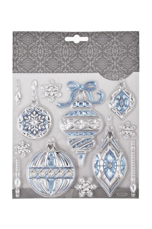 Набор наклеек новогодних Елочные украшенияНаклейки и аппликации<br>18*18см, ПВХ, серебр.-голубой<br>