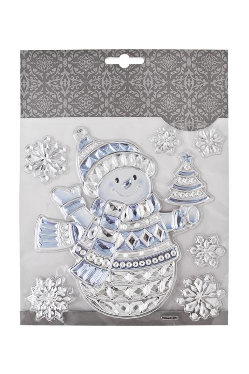 Набор наклеек новогодних Снеговик с елочкой и снежинкиНаклейки и аппликации<br>18*18см, ПВХ, серебр.-голуб.<br>