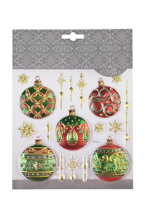 Набор наклеек новогодних Елочные шарыНаклейки и аппликации<br>18*18см, ПВХ, красно-зеленый<br>