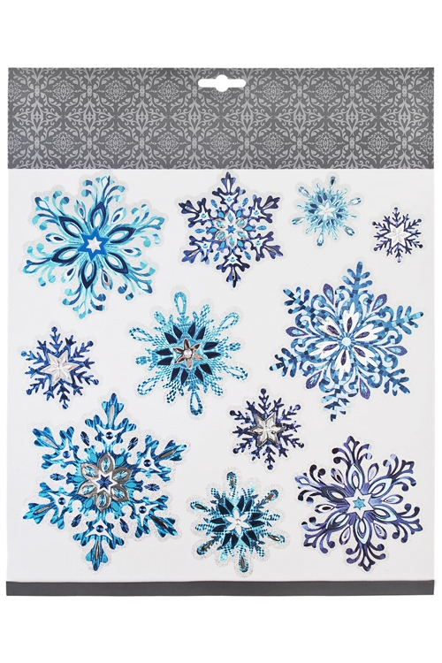 Набор наклеек новогодних Красивые снежинкиНаклейки и аппликации<br>31.5*30.5см, ПВХ, сине-голубо-серебр.<br>