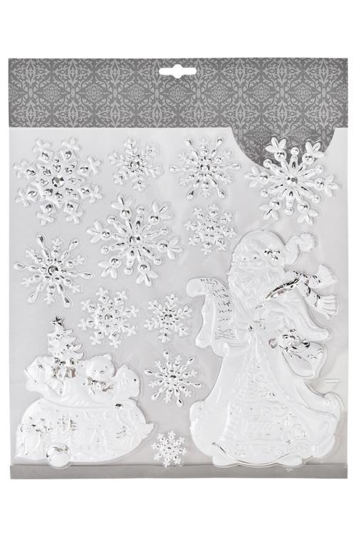 Набор наклеек новогодних Дед Мороз с подарками и снежинкиНаклейки и аппликации<br>31.5*30.5см, ПВХ, бело-серебр.<br>