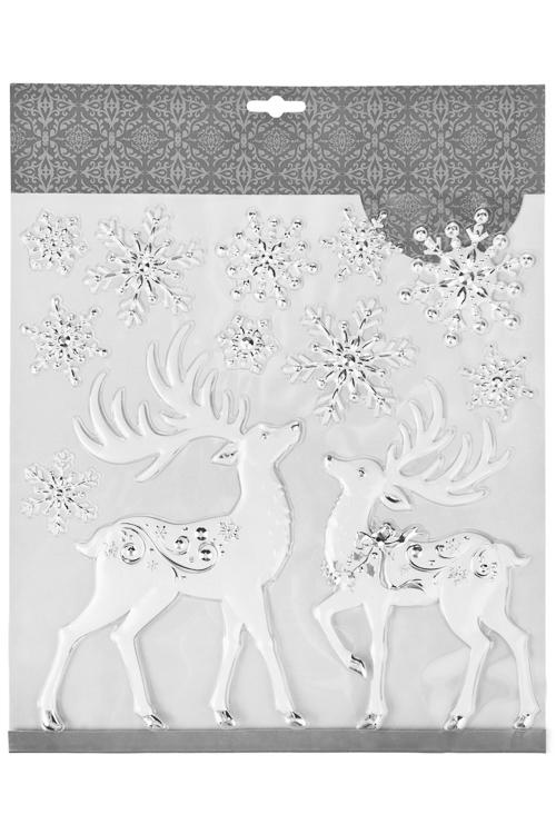 Набор наклеек Сказочные олени и снежинкиИнтерьер<br>31.5*30.5см, ПВХ, бело-серебр.<br>