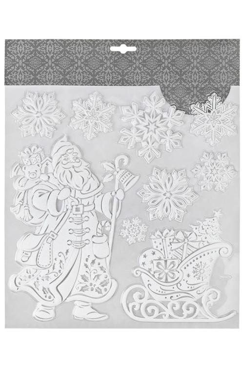 Набор наклеек новогодних Время подарковНаклейки и аппликации<br>31.5*30.5см, ПВХ, белый<br>