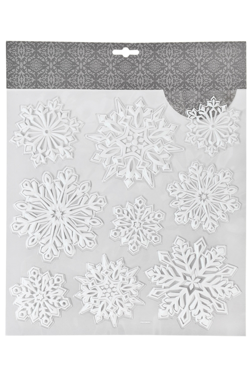 Набор наклеек новогодних Прекрасные снежинкиНаклейки и аппликации<br>31.5*30.5см, ПВХ, белый<br>