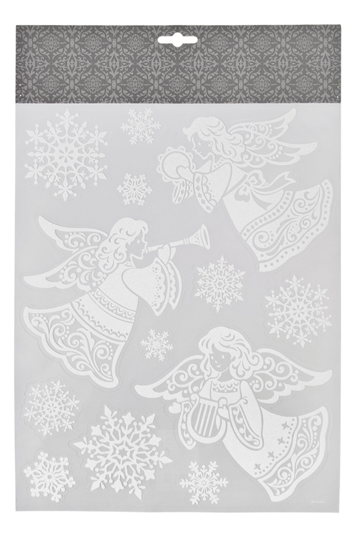 Набор наклеек новогодних Музыкальные ангелыНаклейки и аппликации<br>35*27.5см, ПВХ, белый<br>