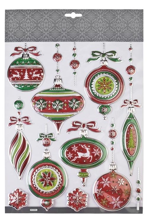 Набор наклеек новогодних Елочные украшенияНаклейки и аппликации<br>35*27.5см, ПВХ, красно-бело-зеленый<br>