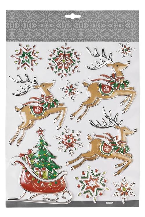 Набор наклеек Волшебные сани Деда Мороза и снежинкиНаклейки и аппликации<br>35*27.5см, ПВХ, разноцв.<br>