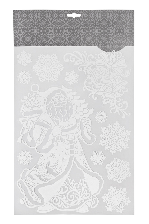 Набор наклеек новогодних Дед Мороз с подарками и снежинкиНаклейки и аппликации<br>41*29см, ПВХ, белый<br>