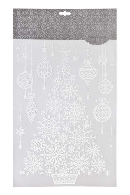 Набор наклеек новогодних Елочка и елочные шарыНаклейки и аппликации<br>41*29см, ПВХ, белый<br>