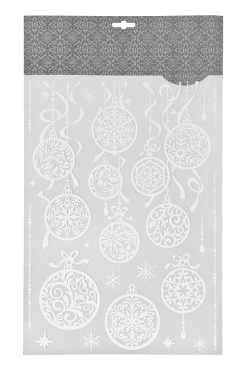 Набор наклеек новогодних Новогодние шарыНаклейки и аппликации<br>41*29см, ПВХ, белый<br>